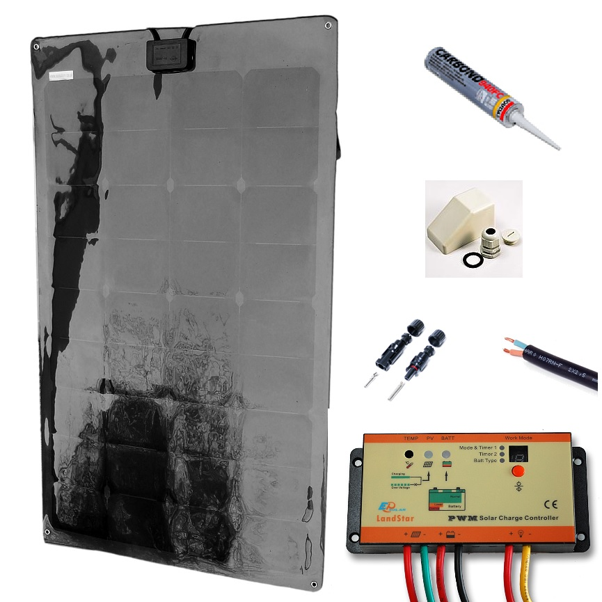 12v Solar Battery Charger Marine Kit 55w
