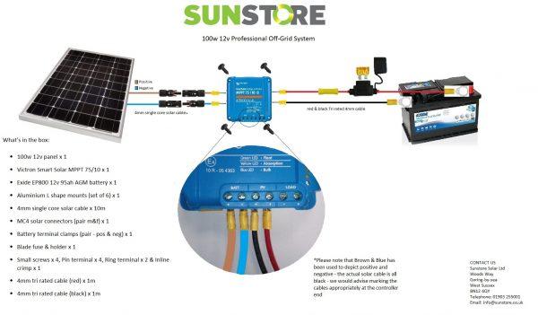 100w off grid wiring